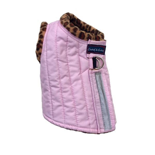 Harness Vest w Leopard Fleece Lining - Pink