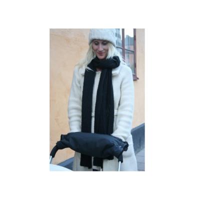 Black fur Stroller Hand Warmer w black lining