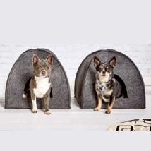 Noko Felt Pet Cave - Cushion White/Black 40cm