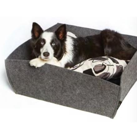 Noko Square Felt Bed - Cushion White/Black