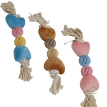 Cotton Rope w TPR Balls and Soft Hearts - L:42cm