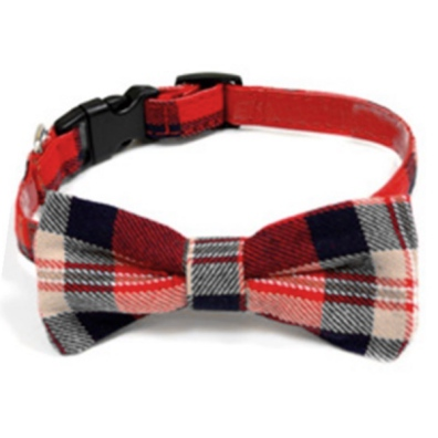 Tweed Bow Collar - Red