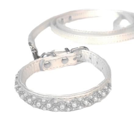 Collar & Leash Set PU leather Pearls - White
