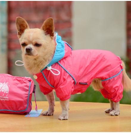 4-Legged Light Wind/Rain Suit w Pouch - Pink