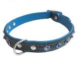 Jax Leather Collar w Colored Crystals - Black/Blue