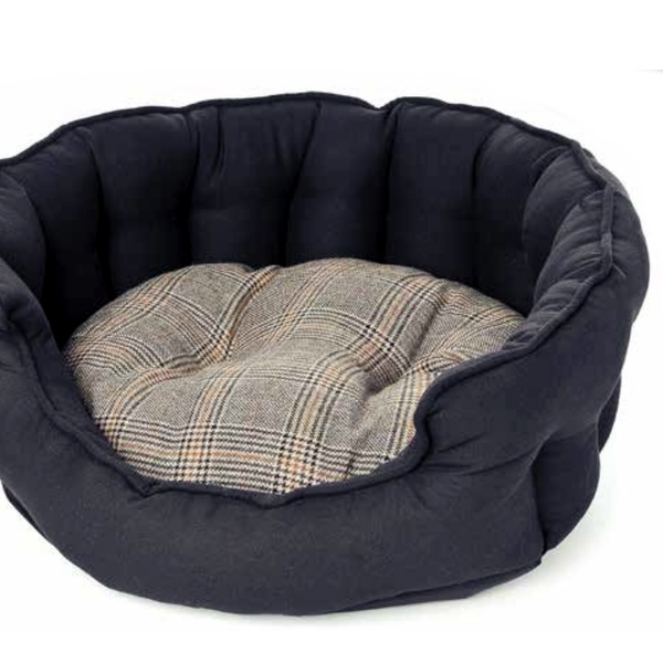 Tweed and Canvas Round Bed - Black