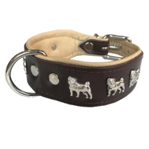 Dogville Collar w Dog Decorations Pug - Brown/Beige