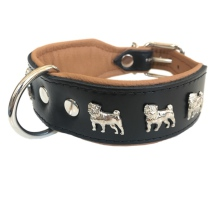 Dogville Collar w Dog Decorations Pug - Black/Brown