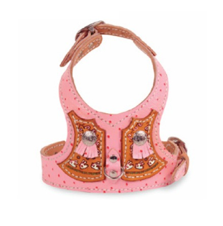 Harness in Pink Leather with Rabbits
