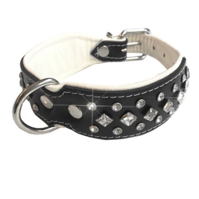 Christy Leather Collar w Clear Crystals - Black/White