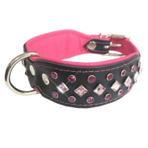 Christy Leather Collar w Colored Crystals - Black/Pink