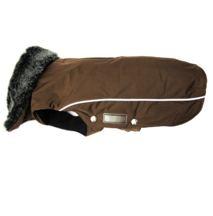 Narvik Fleece Coat Fur Collar - Brown