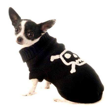 Pullover w White Skull - Black/White