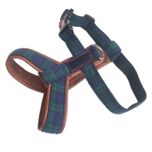 Leather Harness Scottish Pattern - Green/Blue