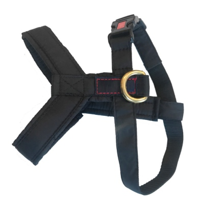 Nylon Harness w Brass Ring - Black