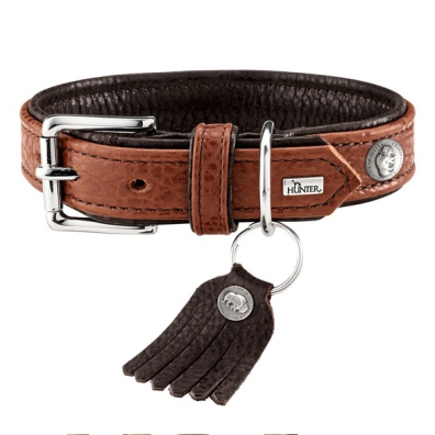 Connor Soft Leather Collar - Cognac/Brown
