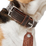 Connor Soft Leather Collar - Brown/Cognac
