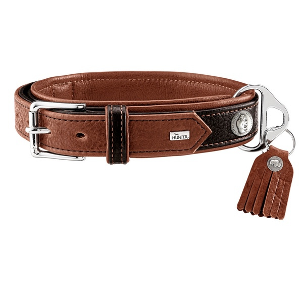 Connor Double Soft Leather Collar - Brown/Cognac