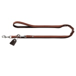 Connor Soft Flat Leather Adjustable Leash - Cognac/Brown