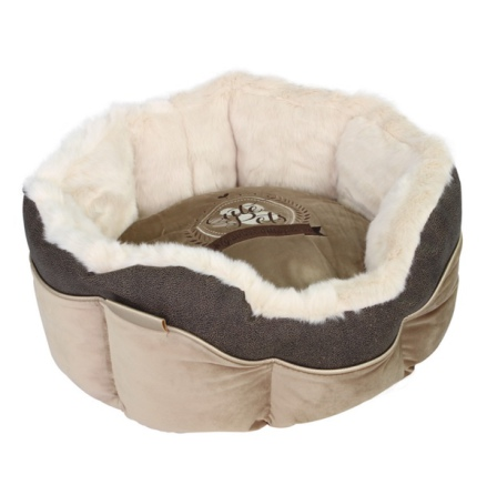 Round Furry Bed - Beige/Taupe 46x46x21cm