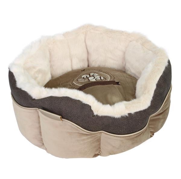 Round Furry Bed - Beige/Taupe 46x46x21cm