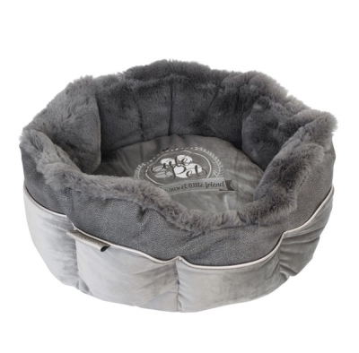 Round Furry Bed - Grey