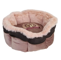 Round Furry Bed - Soft Pink