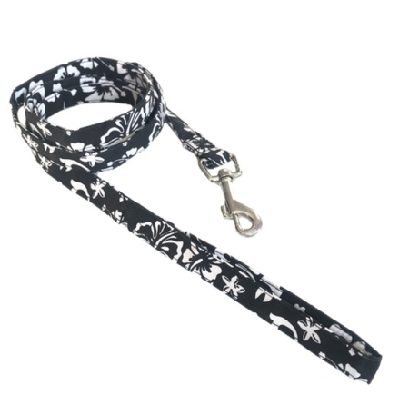 Maui Texile Leash w Floral Pattern - Black/White W:1,5cm L:158cm