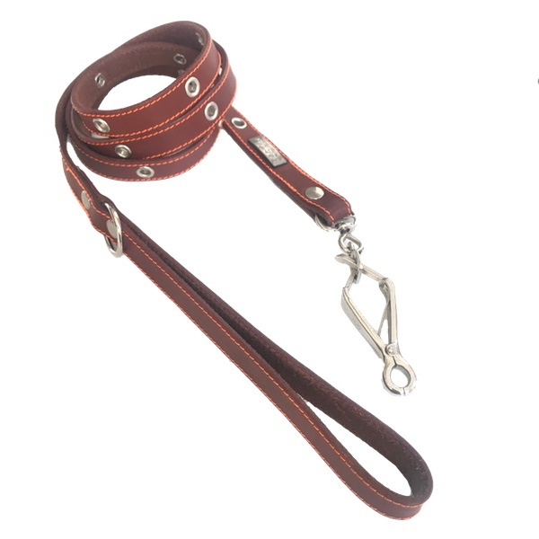 Leather Leash w Rings - Brick/Brown