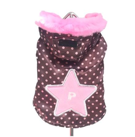 Dotted coat w Pink Fur Trim
