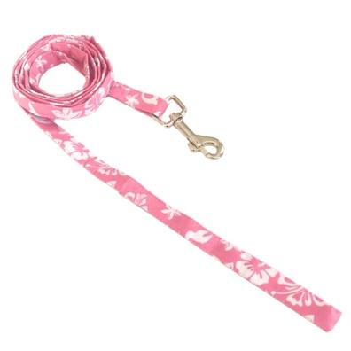 Maui Texile Leash w Floral Pattern - Pink/White