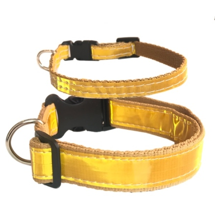 Reflective Nylon Collar w Black Buckle - Gold