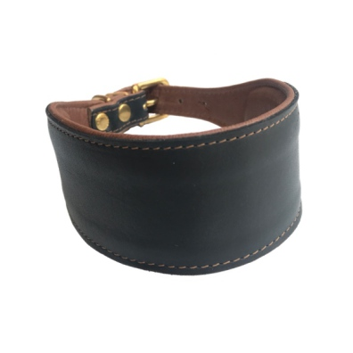 Nordic elk Leather collar whippet/greyhound Brass Black/Brown