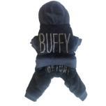 Buffy 4-legs Plush Rhinestone Suit - Navy Blue
