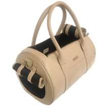 Real Leather Bag w Brass Details - Beige