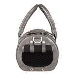 Real Leather Bag w Brass Details - Grey