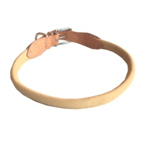 Round Leather Collar - Natur