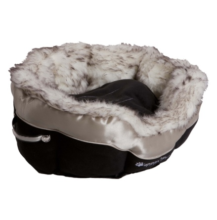 Round Pet Bed with Cosy Fur Brim - Black