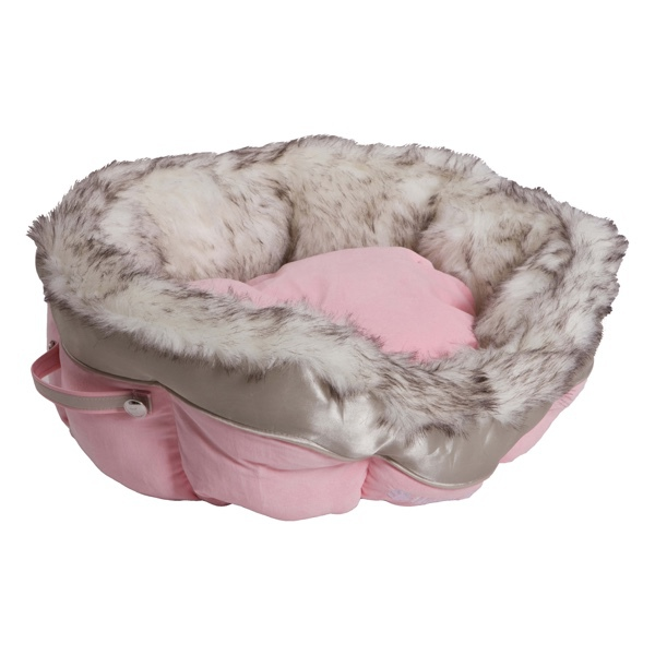 Round Pet Bed with Cosy Fur Brim - Pink