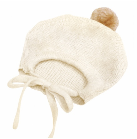 Angy Knitted Hat with Ponpon - Cream