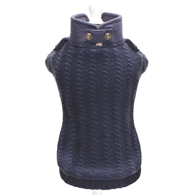 Boston Knitted Double Layer Sweater w Shoulder Straps - Navy Blue