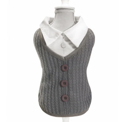 College Knitted Sweater w Shirt Inside - Grey/White