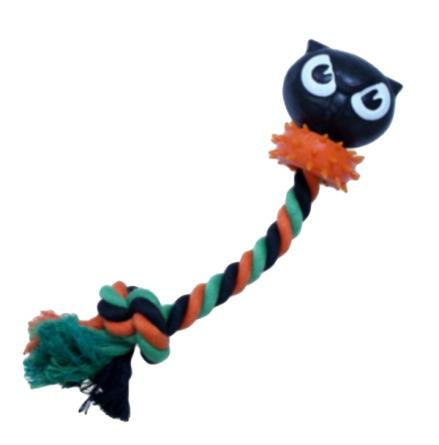 Scary Cotton Rope Toy w Owl - Green/black/Orange