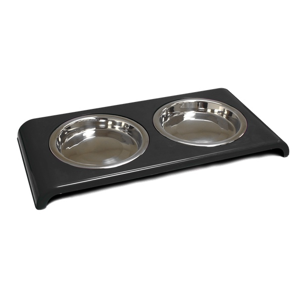 Low Double Food Bowl - Black