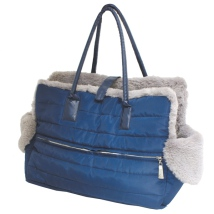 Padded Bag w Cosy Fluffy Lining  - Navy