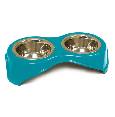 Double Food Bowl - Deap Turquoise