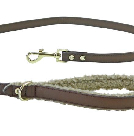 Meldon Vegan Leather Leash w Fur in the Handle - Brown