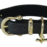 Auriac Real Leather Collar with Brass Details - Black