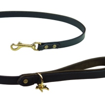 Auriac Real Leather Leash with Brass Details - Black