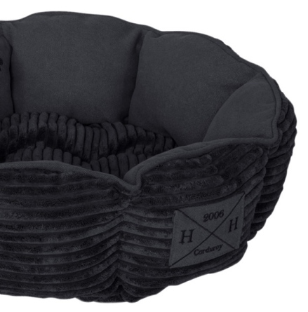 Corduroy Pet Bed - Black 46x46x14cm